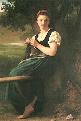 Adolphe-William Bouguereau, 1869, Knitting Girl